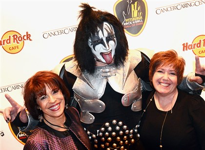 2014PghHallofFame Mary Ann Miller, Gene Simmons impersonator Dave Douglas, and Theresa Kaufman.