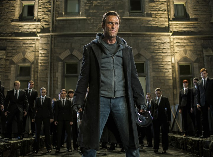 "I Frankenstein Aaron Eckhart stars as 'Adam' in ""I, Frankenstein."""