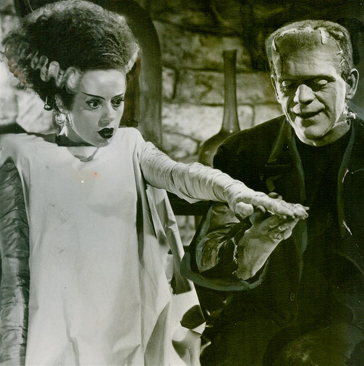 "Bride of Frankenstein Elsa Lanchester and Boris Karloff in ""The Bride of Frankenstein."""