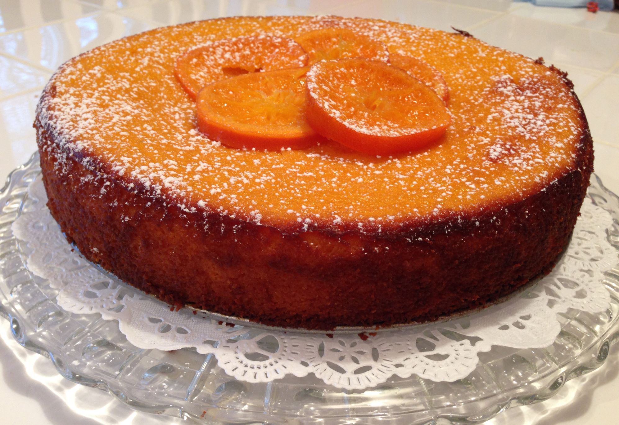 20140124Clementine1 Clementine cake with powdered sugar.