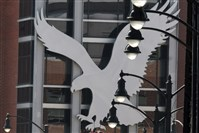 The eagle icon of American Eagle Outfitters looms over its South Side Works headquarters. The teen clothing retailer this morning reported a profit of $29.1 million, or 15 cents per share, in the first quarter, beating analysts' expectations.