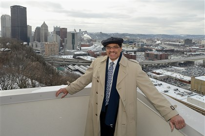 20140122radHillDistrictCond.1 Developer DeWayne Ketchum on the rooftop deck of River View Ridge Condominiums on Arcena Street in Pittsburgh's Hill District.