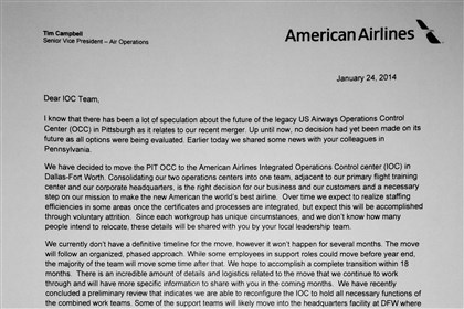 Letter to US Airways employees Tim Campbell, senior vice president of air operations, sent this letter to employees at the US Airways Operations Control Center in Moon.