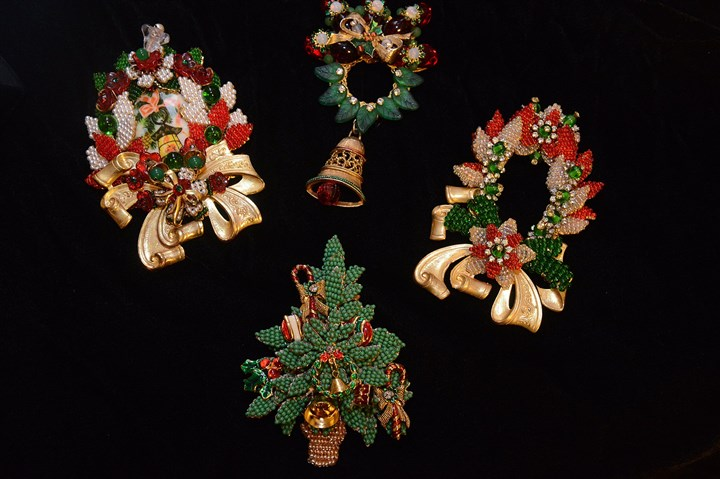 Christmas pins Stanley Hagler Christmas pins in Pat Walt's costume jewelry collection.