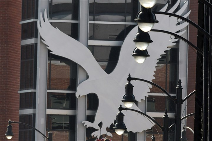 American Eagle headquarters logo The eagle icon of American Eagle Outfitters looms over the South Side Works.