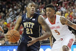 Pitt's Lamar Patterson drives past the Maryland defense during a January 2014 game in College Park, Md.