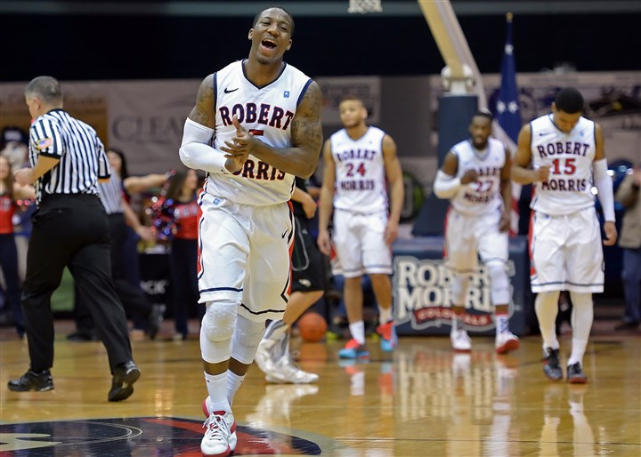 Robert Morris' Anthony Myers-Pate celebrates after defeating Wagner Robert Morris' Anthony Myers-Pate celebrates after defeating Wagner at the Sewall Center Saturday afternoon.