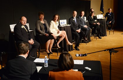 20140126jrGubLocal11-2 All eight democratic candidates for governor listen as moderators Paul Klein and Krysia Kubiak Vila-Roger review the rules for the candidates' forum Sunday at McConomy Auditorium on the campus of Carnegie Mellon University in Oakland.