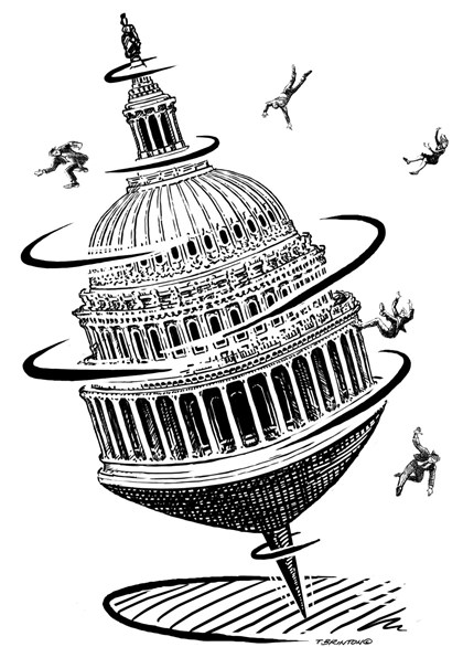 Illustration of spinning U.S. Capitol