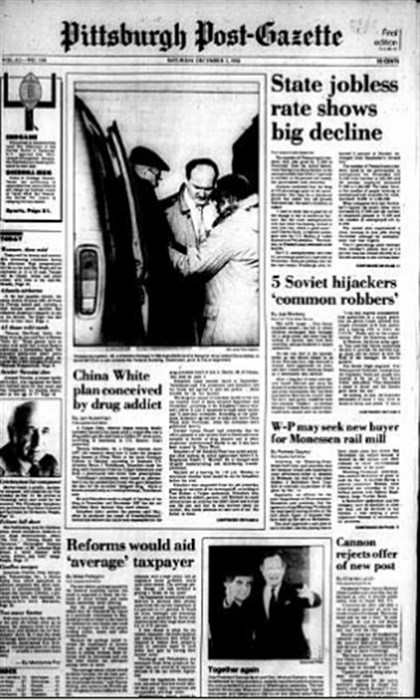 Post-Gazette front page, 1988 (thumbnail) The Post-Gazette's front page recounting the story of Thomas Schaefers.