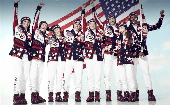 Olympictogs Ralph Lauren designed a patriotic patchwork cardigan, hat and fleece athletic pants and black leather boots for Team USA to wear at the opening ceremony of the Winter Olympics in Sochi.