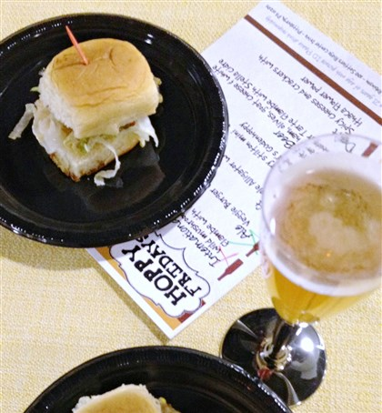 20140128GMhoppyhourburgerfood  Veggie burgers were paired with Peak Organic Pale Ale at a recent Hoppy Fridays event at Market District Robinson.