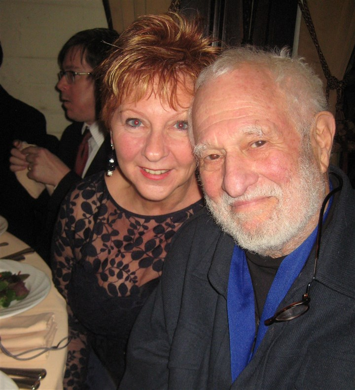 HallofFame Diane Varga and honoree David Hays at the Post Ceremony Theater Hall of Fame 2013 Dinner at the New York Friars Club.