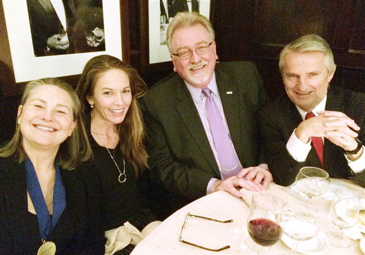 HallofFame At the post-event party at the Friars' Club, from left: Inductee and CMU alum Cherry Jones; actor Diane Lane; CMU dean Dan Martin and Drama head. Peter Cook.