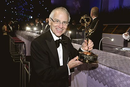 DonRoyKing2-1 Pitcairn native Don Roy King hoists his fourth consecutive Emmy Award last September for directing 'Saturday Night Live.'