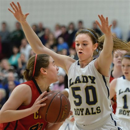 20140113pdGirlsBBallSports0.5.jpg Vincentian Academy's Brenna Wise covers Cardinal Wuerl North Catholic's Paige Kizior during the teams' first meeting Jan. 13, which the Royals won.