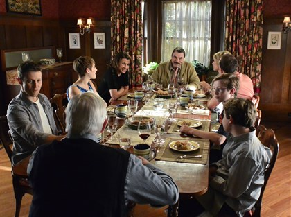 "20140202BlueBloods The Reagan family of ""Blue Bloods"" -- clockwise from left, Will Estes, Sami Gayle, Bridget Moynahan, Tom Selleck, Amy Carlson, Donnie Wahlberg, Tony Terraciano, Andrew Terraciano and Len Cariou -- used to pray at dinner. What happened?"
