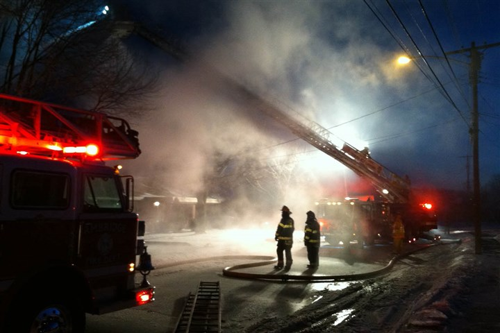 Aliquippa fire Crews before sunrise were battling flames at a home on 2120 Ritchie St. in Aliquippa, which was reported at 4:50 a.m.