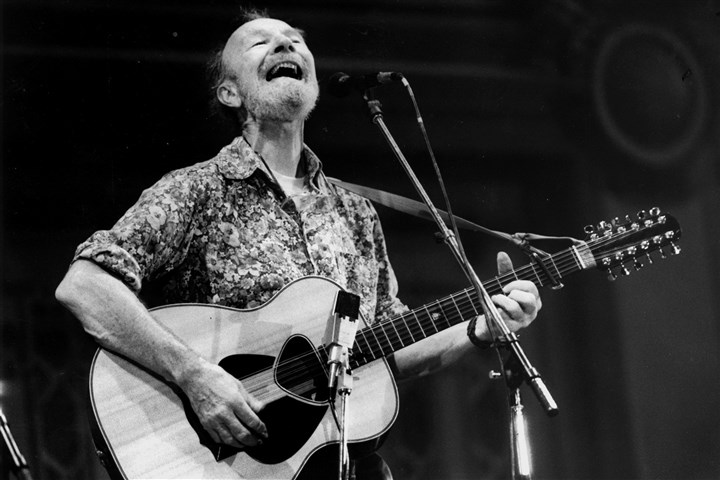 Pete Seeger in Pittsburgh Pete Seeger plays at Soldiers & Sailors on Sept. 19, 1986. Mr. Seeger died Monday at 94.