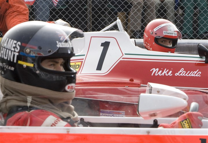 "RushDVD2-3 From left, Chris Hemworth as the charismatic Englishman James Hunt and Daniel Bruhl as disciplined Austrian perfectionist Niki Lauda in ""Rush."""