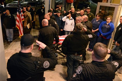 Rocco, Pittsbugh police K-9 officer Rocco, the Pittsburgh police K-9 officer, died on Jan. 30. He was covered with a flag and taken out under an officers' salute from the Pittsburgh Veterinary Specialty & Emergency Center on Camp Horne Road in Ohio Township.