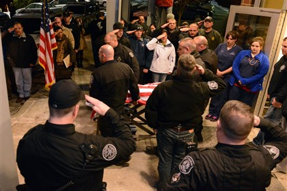 Officer Rocco is taken from emergency vet Pittsburgh police K-9 officer Rocco is taken out under Pittsburgh police officers' salute at the Pittsburgh Veterinary Specialty & Emergency Center in Ohio Township.