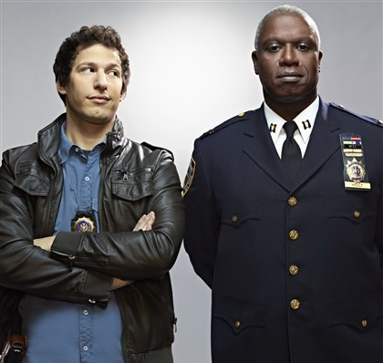 "BNineNine1.jpg Andy Samberg, left, and Andre Braugher clash in a police precinct in the Fox comedy ""Brooklyn Nine-Nine."""