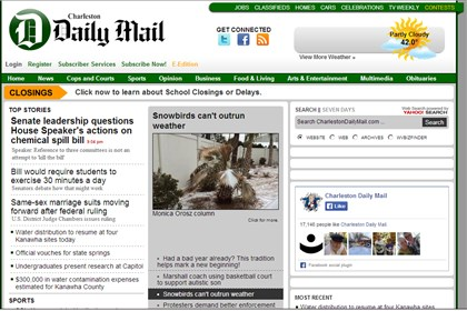 Screenshot of Charleston Daily Mail website The homepage of the Charleston Daily Mail, which has become charlestondailymail.com after its more common domain was sold to the big London media outlet.