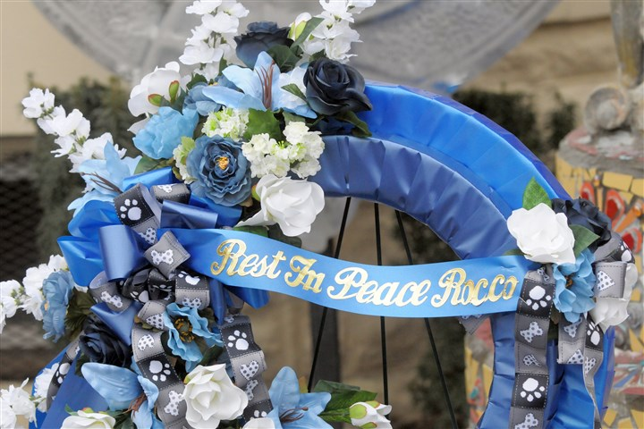 Wreath in honor of K-9 Rocco A wreath commemorating Pittsburgh Police K-9 officer Rocco has been added to the police memorial outside St. Maria Goretti Parish's Liberty Avenue Campus on Liberty Avenue in Bloomfield.