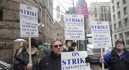 Teamsters Local 249 About 15 members of the Teamsters Local 249 gathered outside the Allegheny County Courthouse Monday to call for a contract with pay increases from the county.
