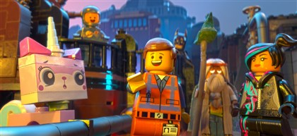 "'The Lego Movie' 01 Unikitty (voiced by Alison Brie), Benny (Charlie Day), Emmet (Chris Pratt), Batman (Will Arnett), Vitruvius (Morgan Freeman) and Wyldstyle (Elizabeth Banks) in the 3D computer animated adventure ""The LEGO® Movie."""