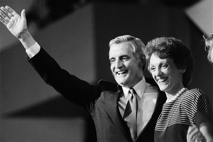 "Obit-Joan Mondale Former vice president Walter Mondale and his wife Joan in 1984. Mrs. Mondale, who burnished a reputation as ""Joan of Art"" for her passionate advocacy for the arts died Monday."