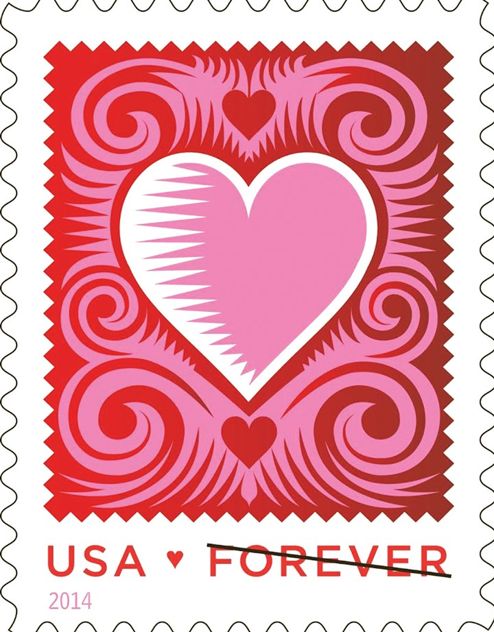 "USPS Love stamp, 2014 An illustration by Elizabeth ""Q."" Cassetti, a Pittsburgh native who lives in New York State, inspired the design of the stamp."