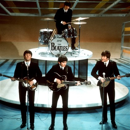 "TV-Beatles-Sullivan The Beatles, from left, Paul McCartney, George Harrison, Ringo Starr on drums and John Lennon perform on the ""Ed Sullivan Show"" in New York in the 1960s."