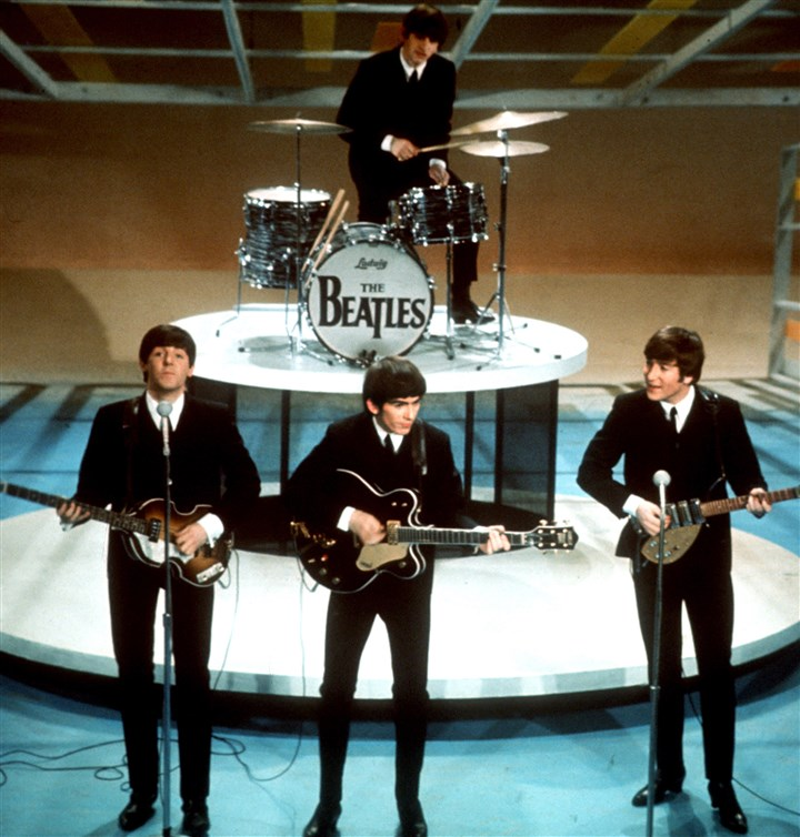 "TV-Beatles-Sullivan The Beatles, from left, Paul McCartney, George Harrison, Ringo Starr on drums, and John Lennon perform on the CBS ""Ed Sullivan Show"" in New York."