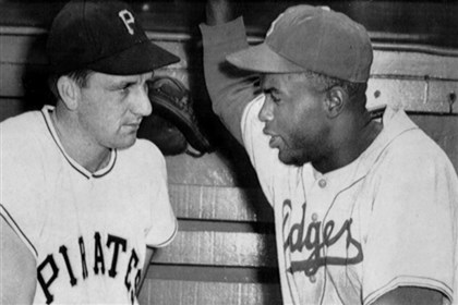 Kiner and Robinson Pittsburgh Pirates outfielder Ralph Kiner talks with Jackie Robinson of the Brooklyn Dodgers before a 1950 ballgame in Pittsburgh.