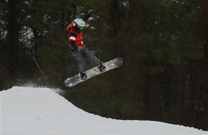 Liam Stebbins, 13, of Murrysville Liam Stebbins, 13, of Murrysville flies over one of the downhill features on Feb. 5 at Boyce Park. The Allegheny County-owned park in Plum, all too often has opened late and closed early, opened Dec. 6 and remained open every day until it closed March 16.