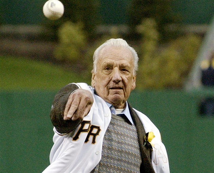 20140206pdkiner2003spts Ralph Kiner throws out the first pitch prior to the Pirates vs Brewers game April 8, 2003 at PNC Park. The Pittsburgh Pirates honored Kiner before the game.