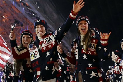 USsochi_int United States Olympians are introduced Friday at the opening ceremony of the Winter Olympics in Sochi, Russia.