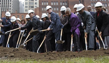 Wilsongroundbreaking Local leaders got together to break ground for the August Wilson Center for African American Culture in Pittsburgh on Wednesday, Oct. 18, 2006.