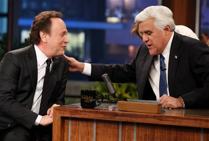 "Jay Leno Jay Leno, right, and Billy Crystal appear during the final taping of NBC's ""The Tonight Show with Jay Leno,"" in Burbank, Calif., Thursday, Feb. 6, 2014."