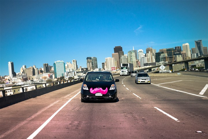 Lyft A Lyft car takes to the road.