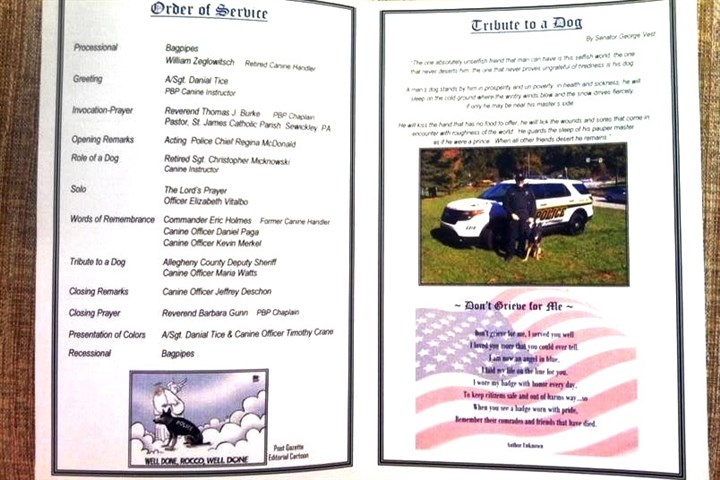 Rocco funeral program The memorial program for K-9 officer Rocco.