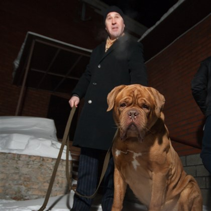 Vladimir with Evgeni's 'puppy' Geoffrey Vladimir with Evgeni's 'puppy' -- a 120-pound French Mastiff named Geoffrey -- that Evgeni bought just weeks before leaving for the United States in 2006.