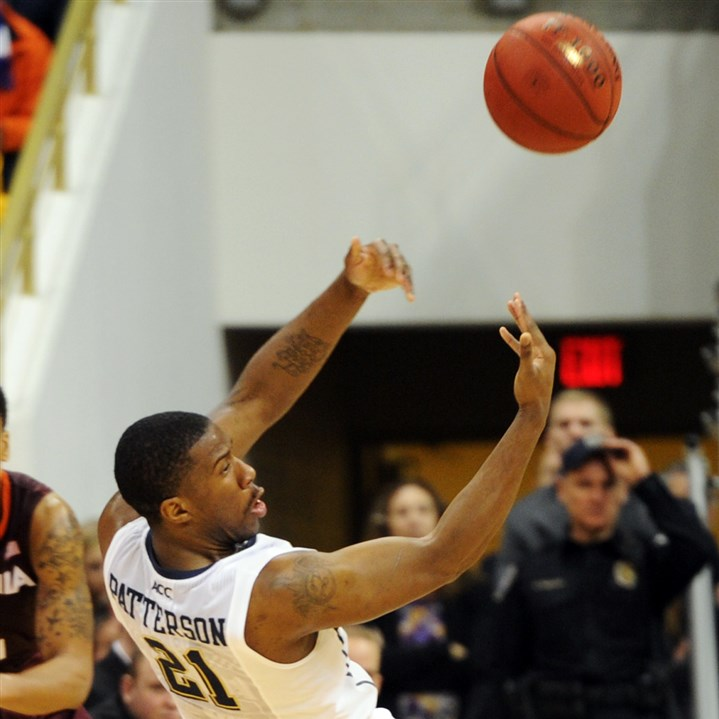 Lamar Patterson Pitt's Lamar Patterson passes the ball after wrestling it away from a Virginia Tech player during Pitt's overtime win at Petersen Events Center Saturday.