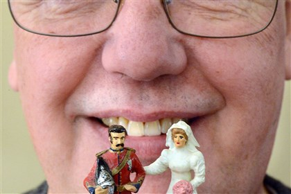 Toy soldiers David Frankowski created this Victorian-era British Dragoon officer and bride to decorate the cake at his wedding to wife Colette. His 50-year hobby of collecting and painting toy soldiers will be on display at the Neville House in Collier on Sunday.