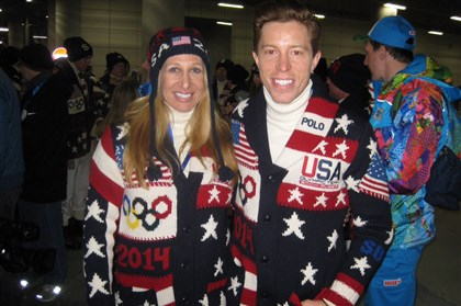 Dr. Gloria Beim USOC chief medical officer Dr. Gloria Beim with snowboard gold medalist Shaun White in Sochi.