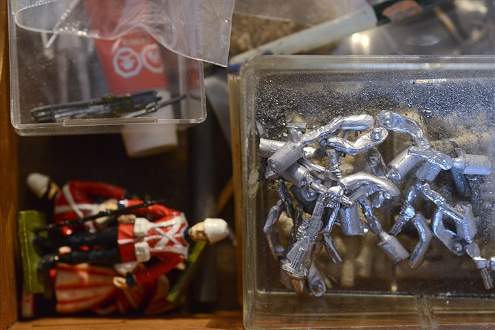 Toy soldiers David Frankowski's tool box is filled with toy soldiers and lead body parts.