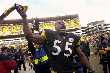 Joey celebrates Joey Porter celebrates after the Steelers defeat the Baltimore Ravens in 2002 at Heinz Field.
