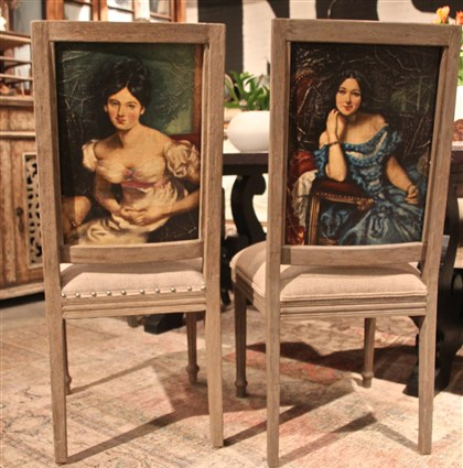20140211lasvegas77 Portraits in oil on the back of these vintage French inspired dining chairs by Peninsula Home, with or without nail head trim mean you always have a guest for dinner.